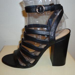 NIB! Steve Madden Black Leather Sandals, Sz.9